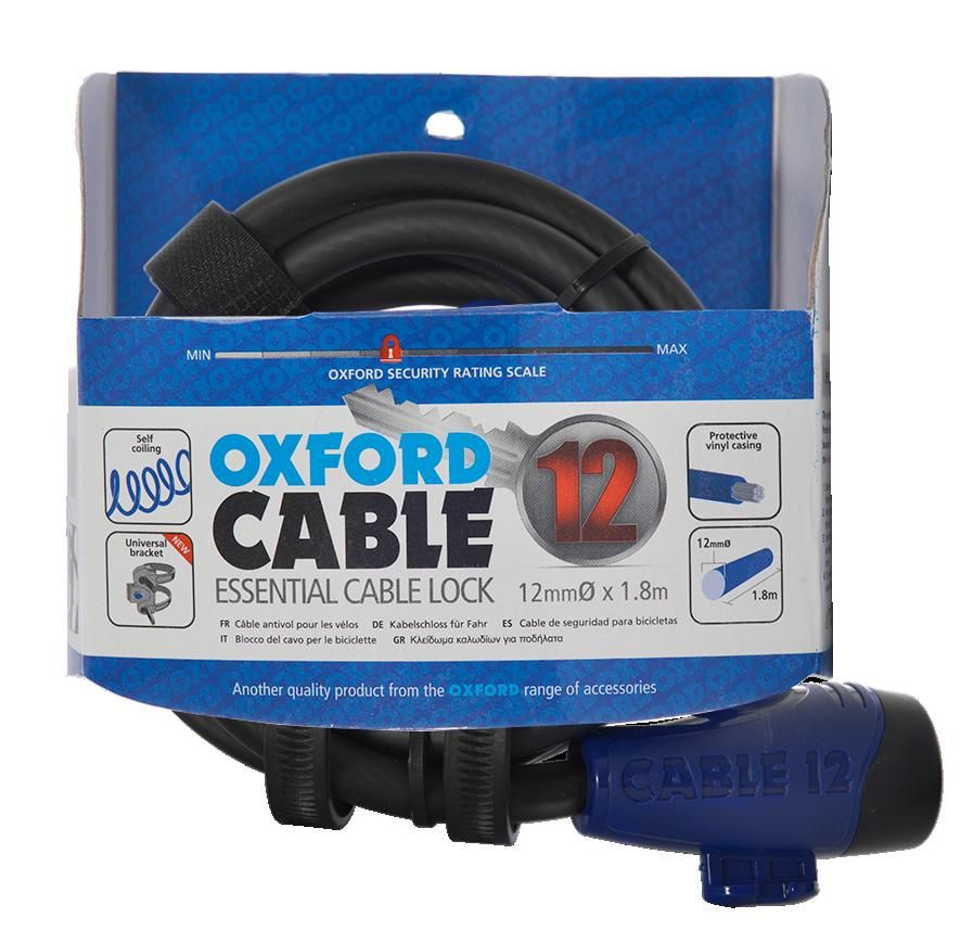 381169ac4bf Oxford Cable 12 Cable Lock, 12mm x 650mm High Tensile Steel Cable. 3  Colours Available